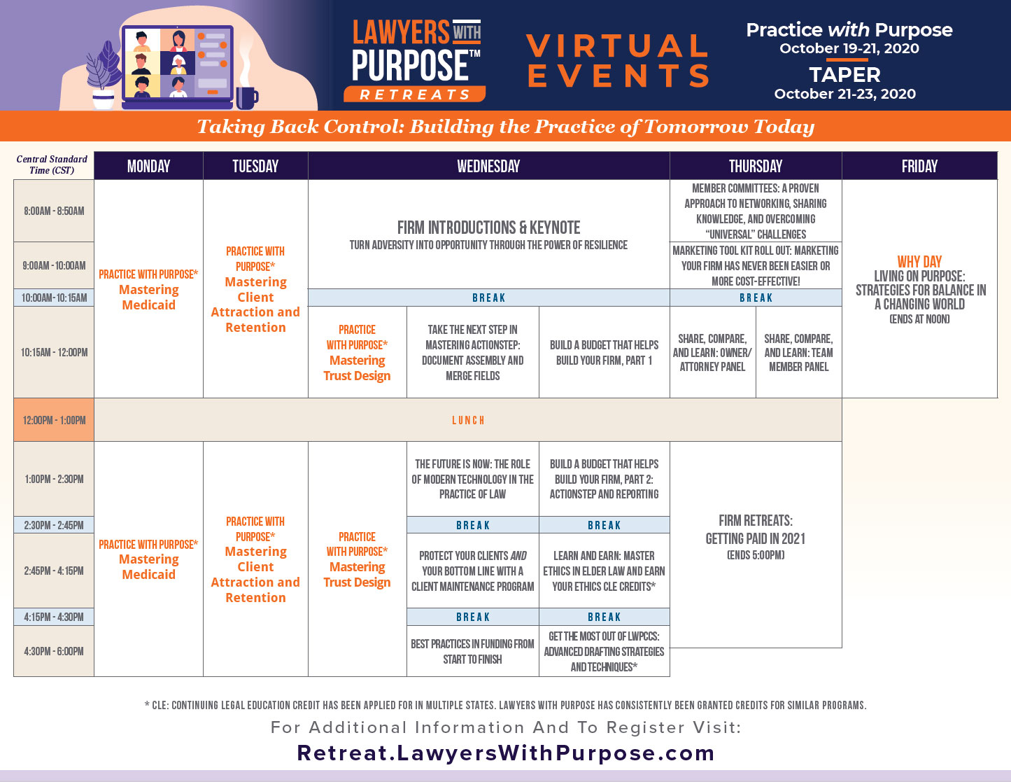 TAPER Virtual Event Calendar October 2020